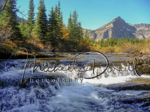 River and waterfall in Swiftcurrent Valley fall colors, Many Glacier, Glacier National Park. 72 dpi, 300 dpi