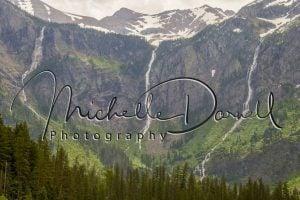 Waterfalls from Sperry Glacier cascade into Avalanche Lake, Glacier National Park, Montana. 72 dpi, 300 dpi, 600 dpi