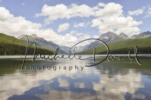 Reflections of the clouds on Bowman Lake, northwest section of Glacier National Park, Montana. 72 dpi, 300 dpi, 600 dpi