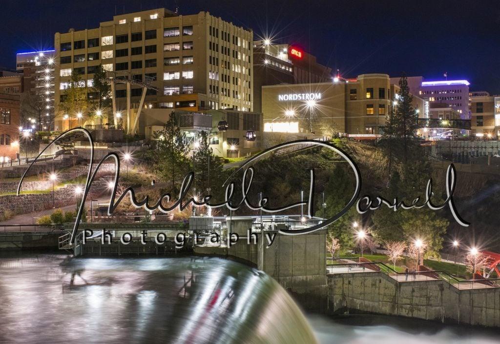 Downtown Spokane and Spokane Falls at night. 72 dpi, 300 dpi, 600 dpi
