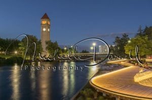 The Spokane Riverfront Park boardwalk at night with the clock tower, and the Looff Carrousel off to the right. 72 dpi, 300 dpi, 600 dpi