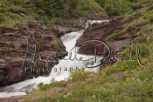 An unnamed waterfall along Sun Rift Gorge, Glacier National Park, Montana. 72 dpi, 300 dpi, 600 dpi