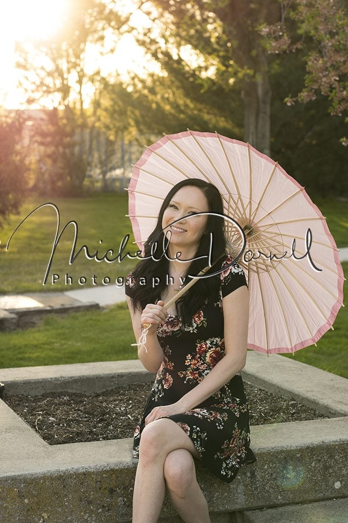 Breanna with a parasol